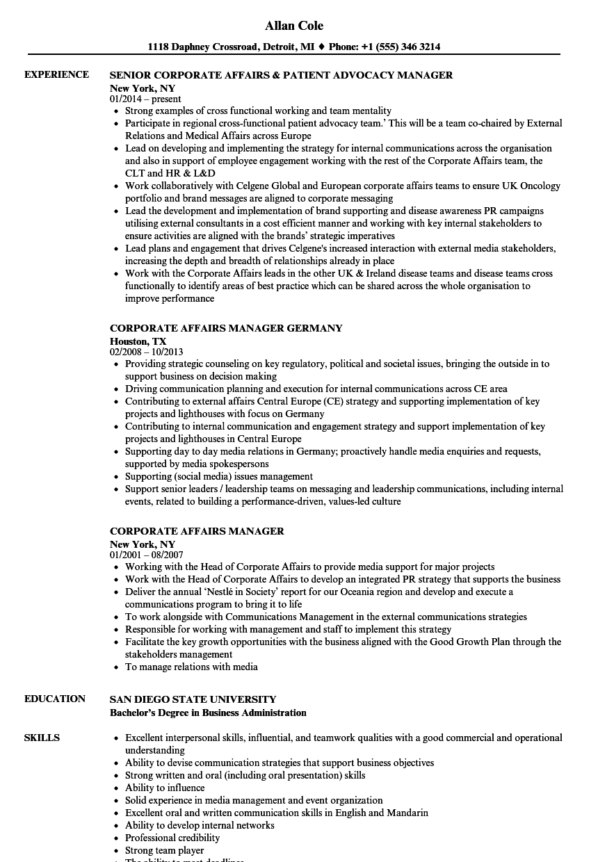 Corporate Affairs Manager Resume Samples | Velvet Jobs