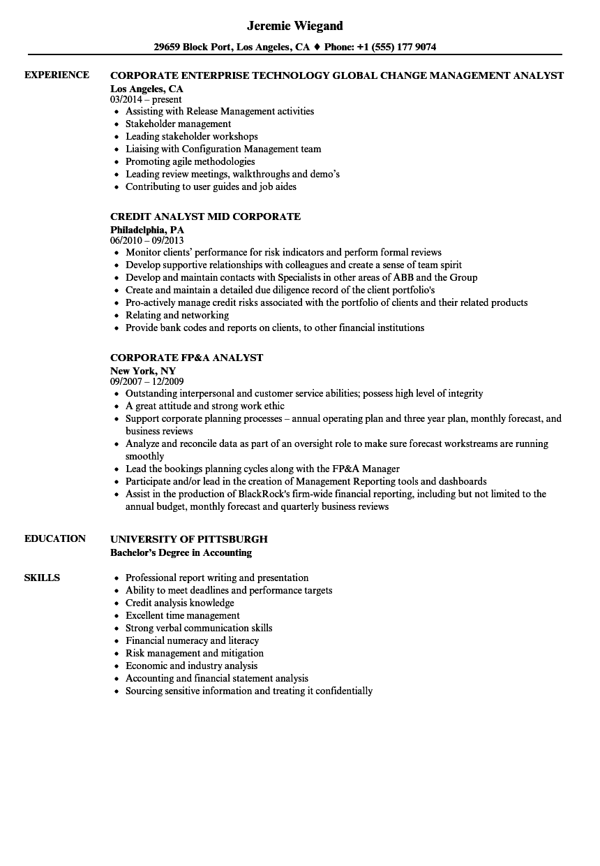 Corporate Actions Analyst Resume