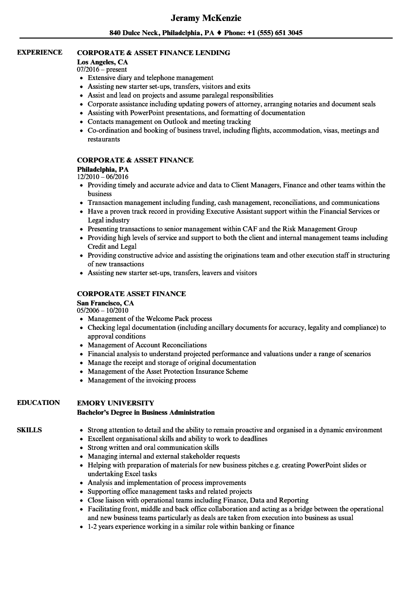 corporate  u0026 asset finance resume samples