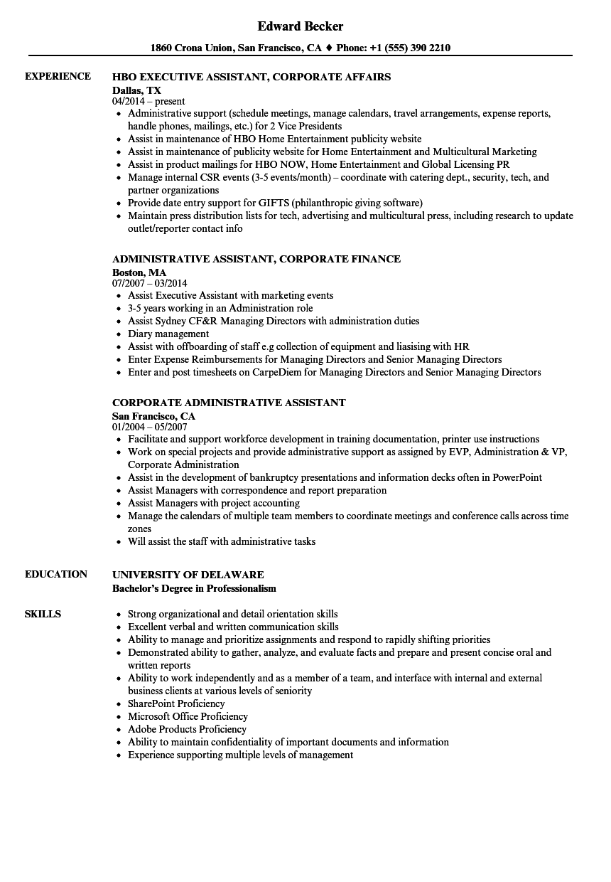 Corporate Assistant Resume Samples  Velvet Jobs