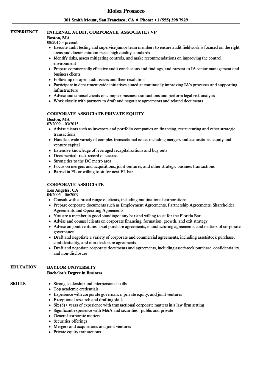 corporate associate resume samples