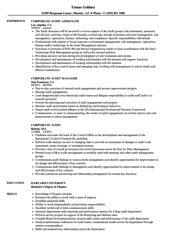 Corporate Audit Resume Samples   Velvet Jobs