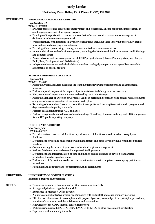 corporate auditor resume samples