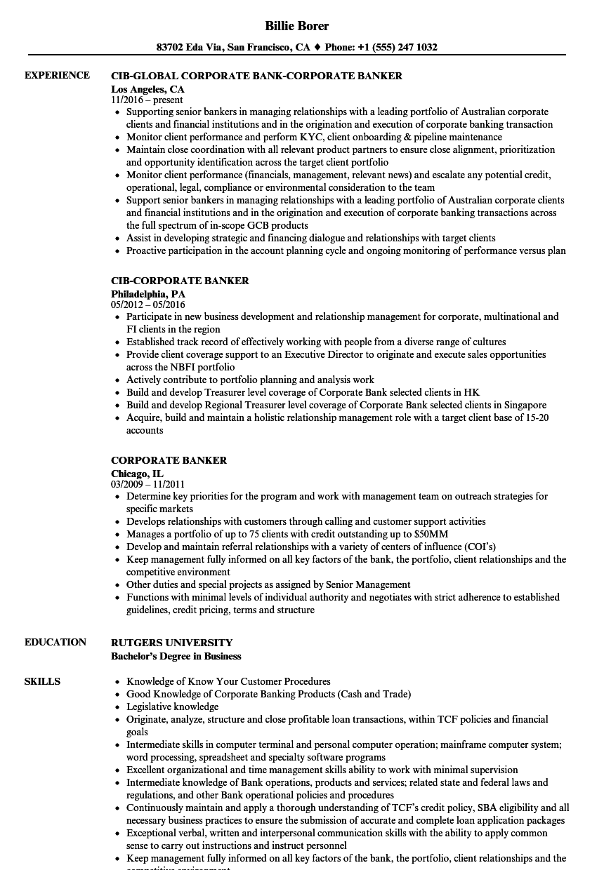 Corporate Banker Resume Samples Velvet Jobs