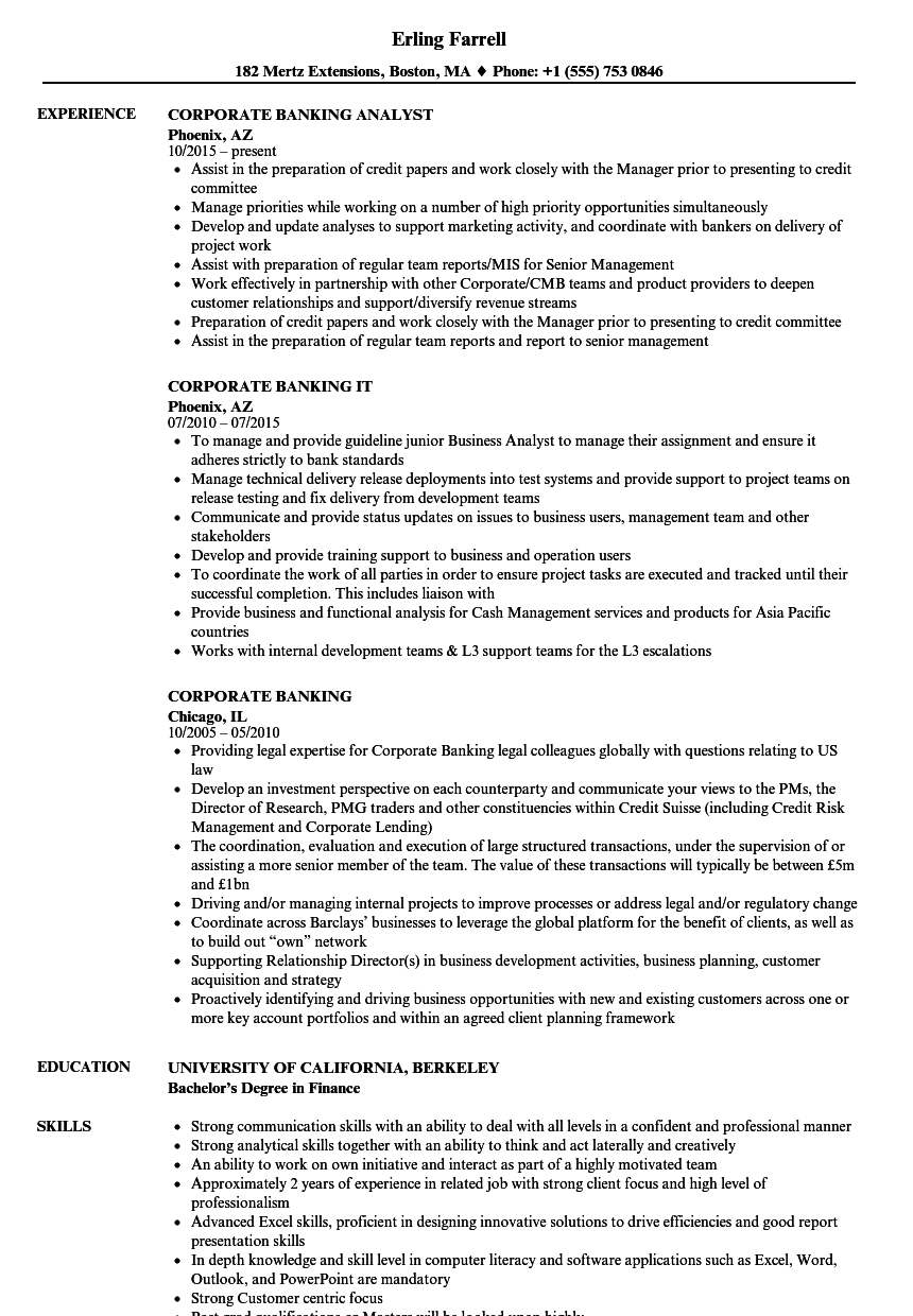 corporate banking resume samples