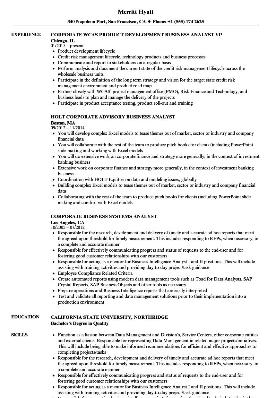 Corporate Business Analyst Resume Samples | Velvet Jobs