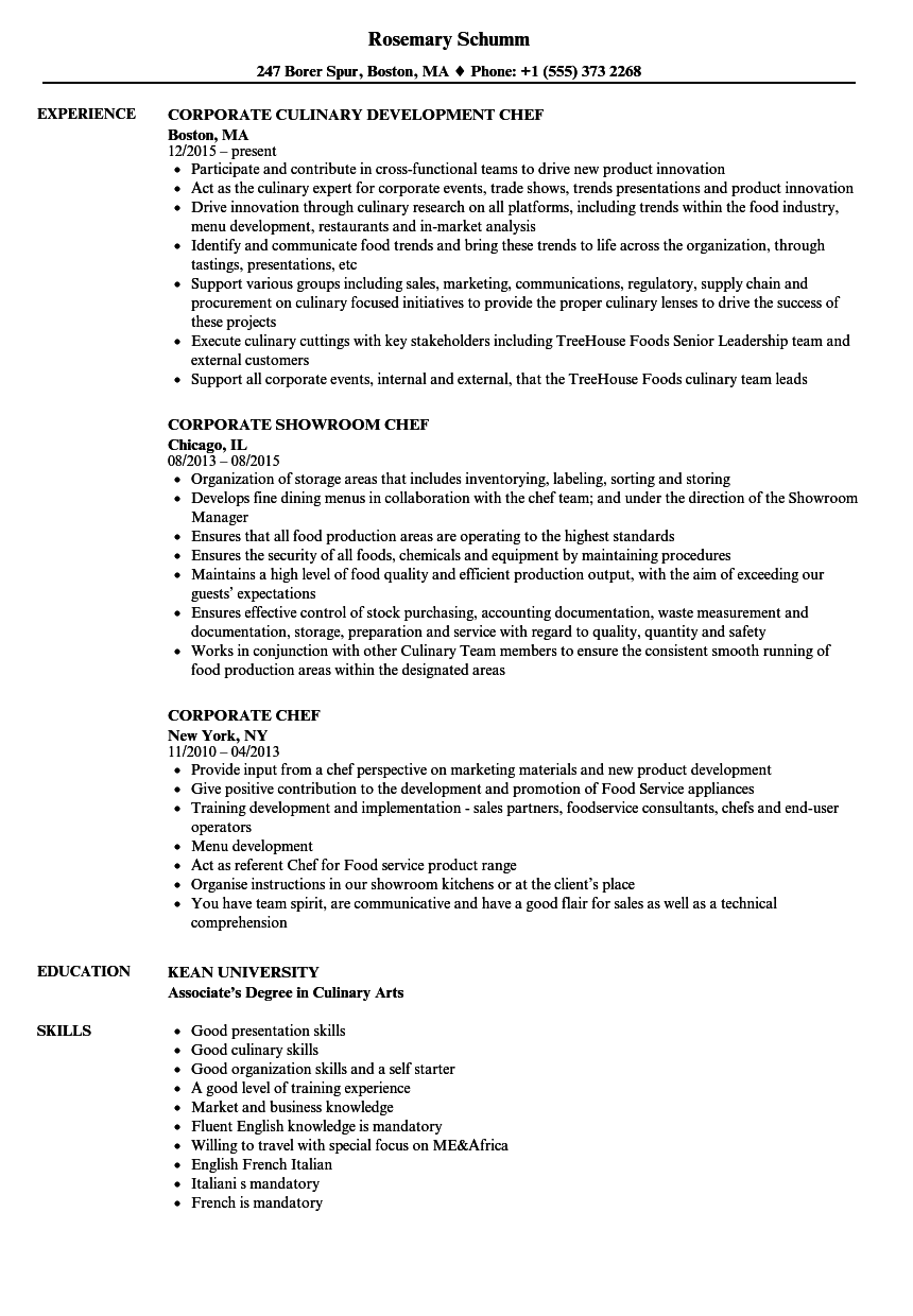 Corporate Chef Resume Samples | Velvet Jobs