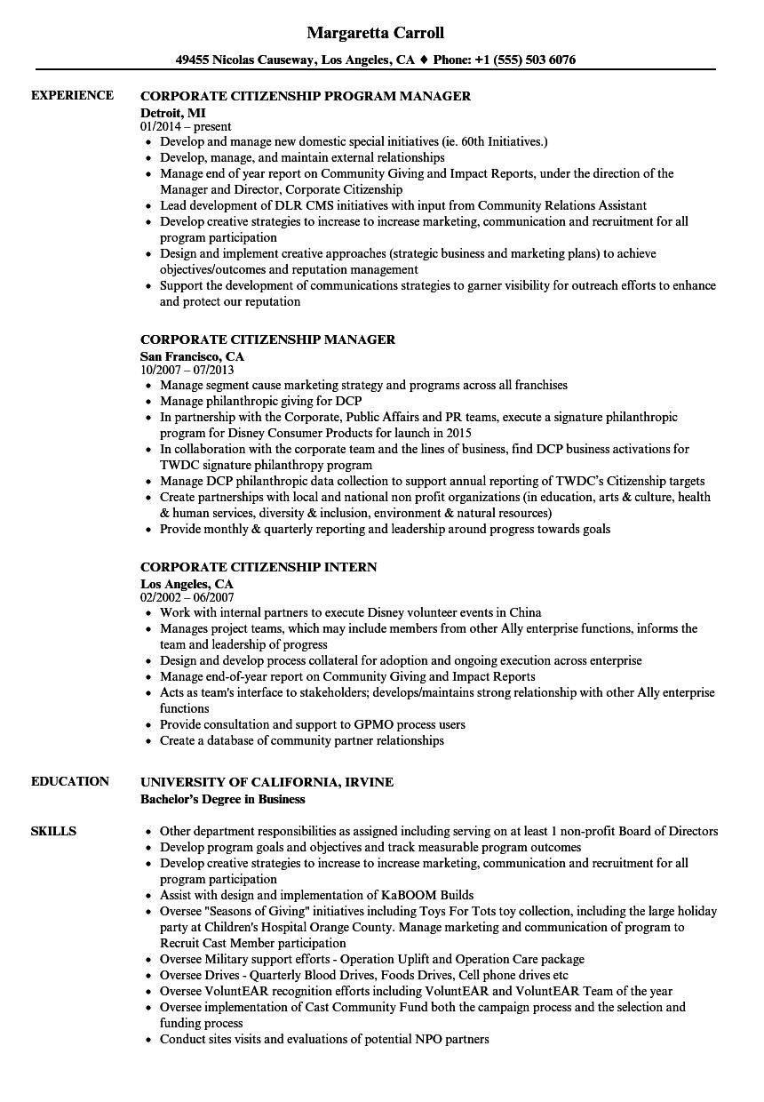 corporate citizenship resume samples