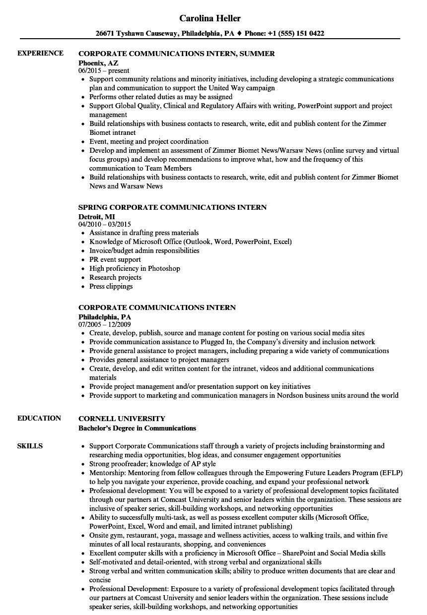 corporate communications intern resume samples