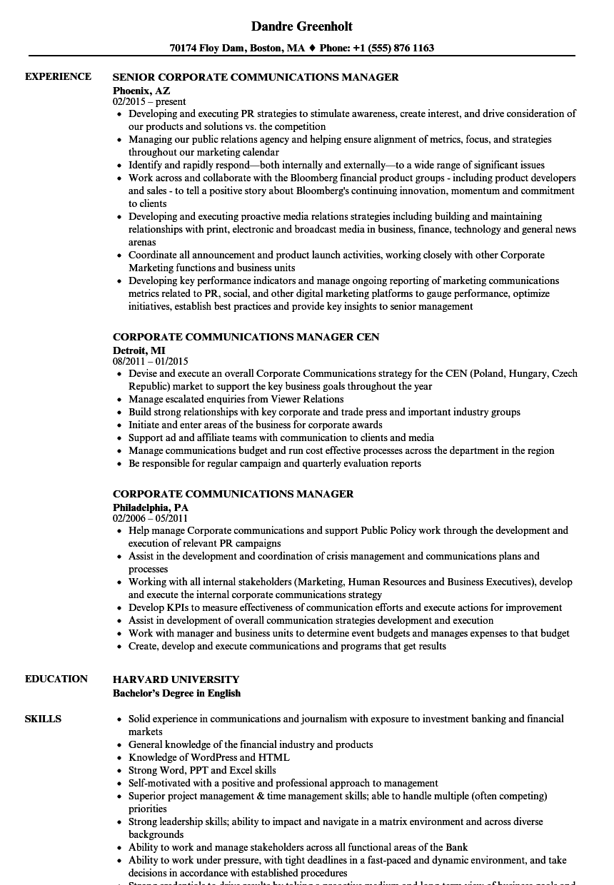 Corporate Communications Manager Resume Samples | Velvet Jobs