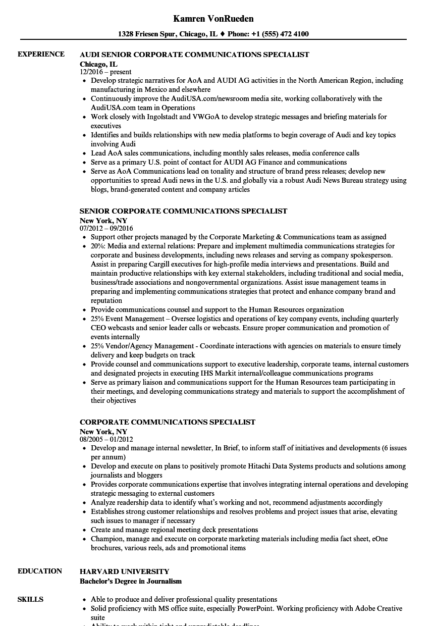 corporate communications specialist resume samples velvet jobs