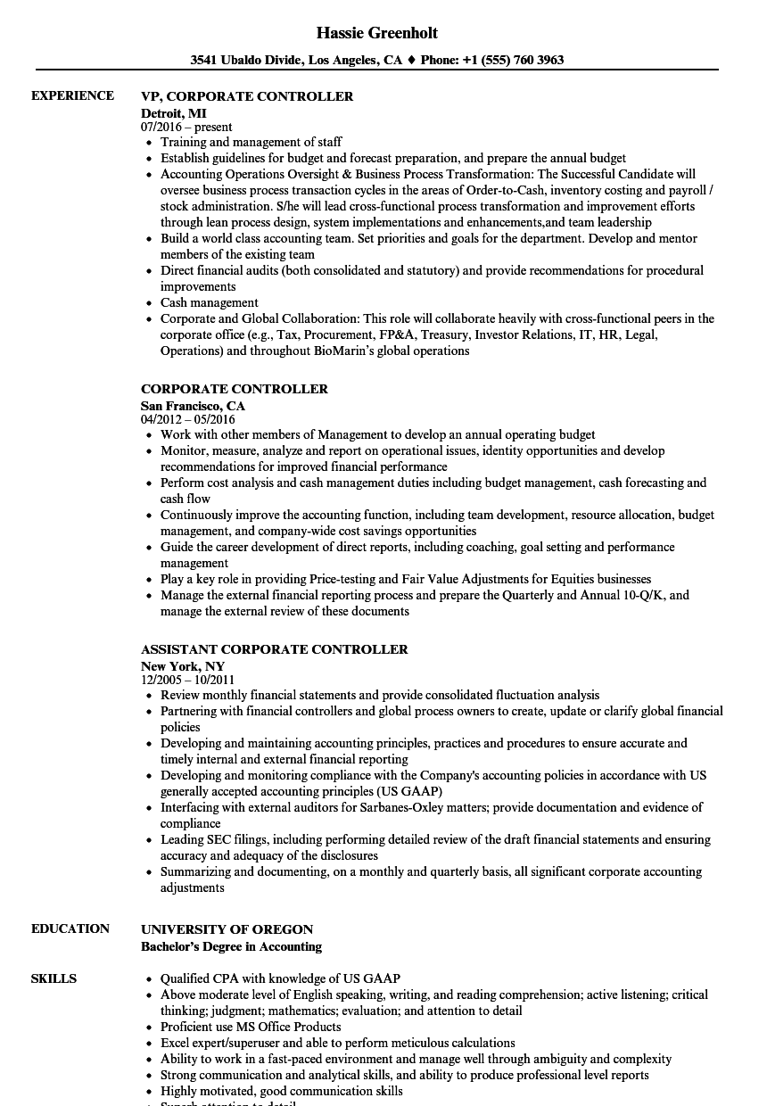 corporate controller resume samples velvet jobs
