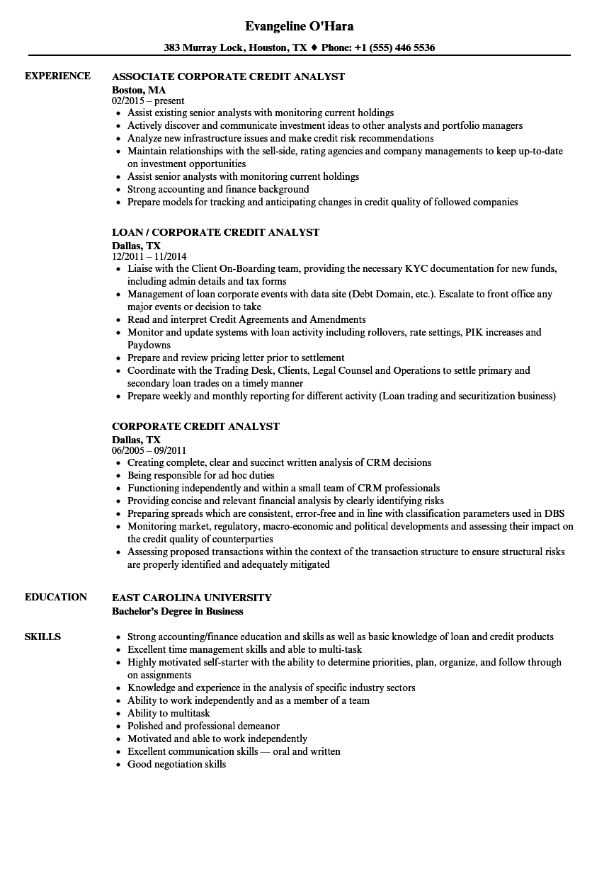 download corporate credit analyst resume sample as image file - Sample Credit Analyst Resume