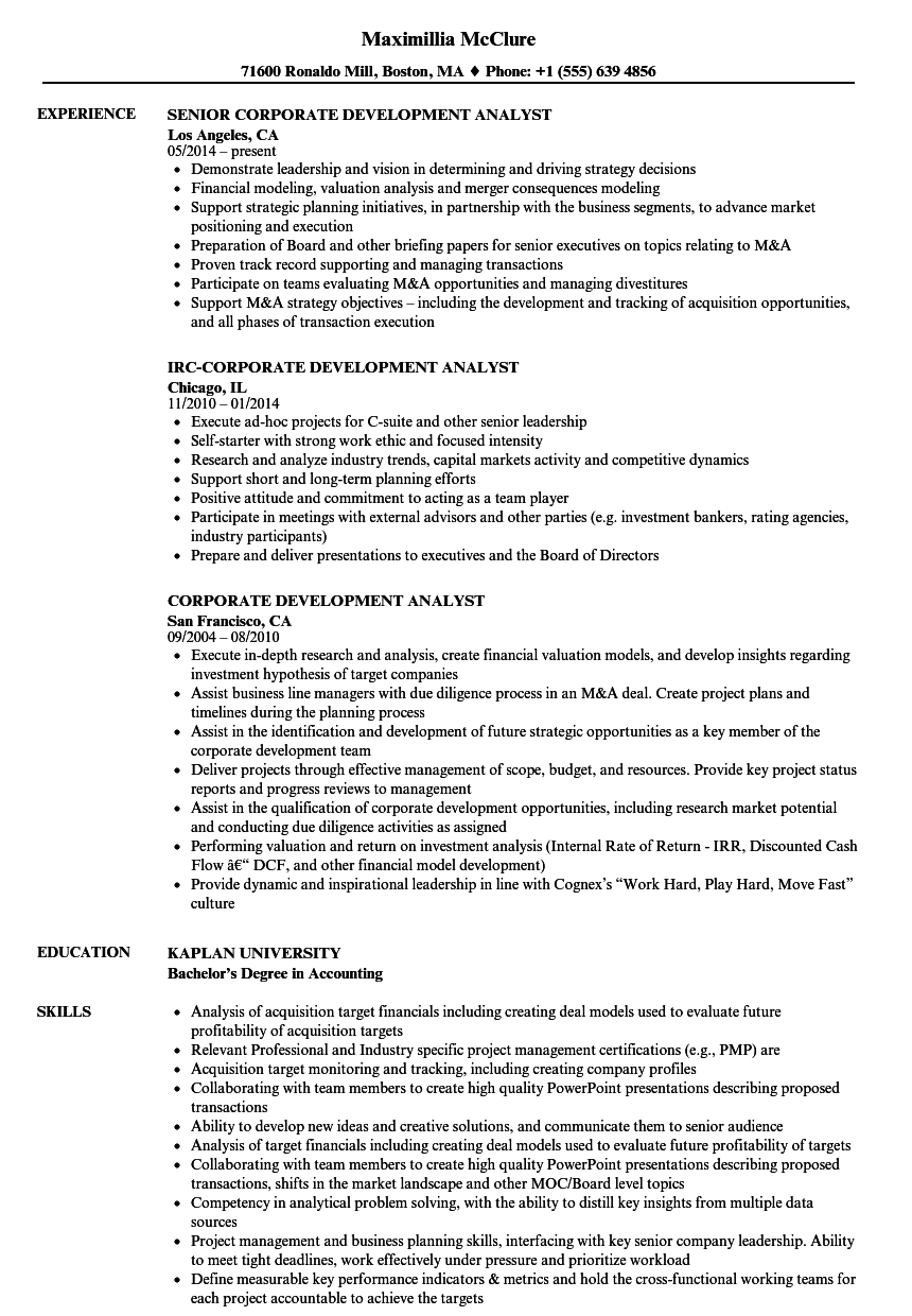 Perfect Download Corporate Development Analyst Resume Sample As Image File  Corporate Development Resume