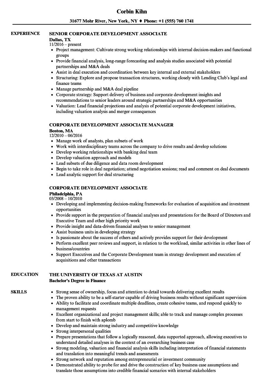 Corporate Development Associate Resume Samples | Velvet Jobs