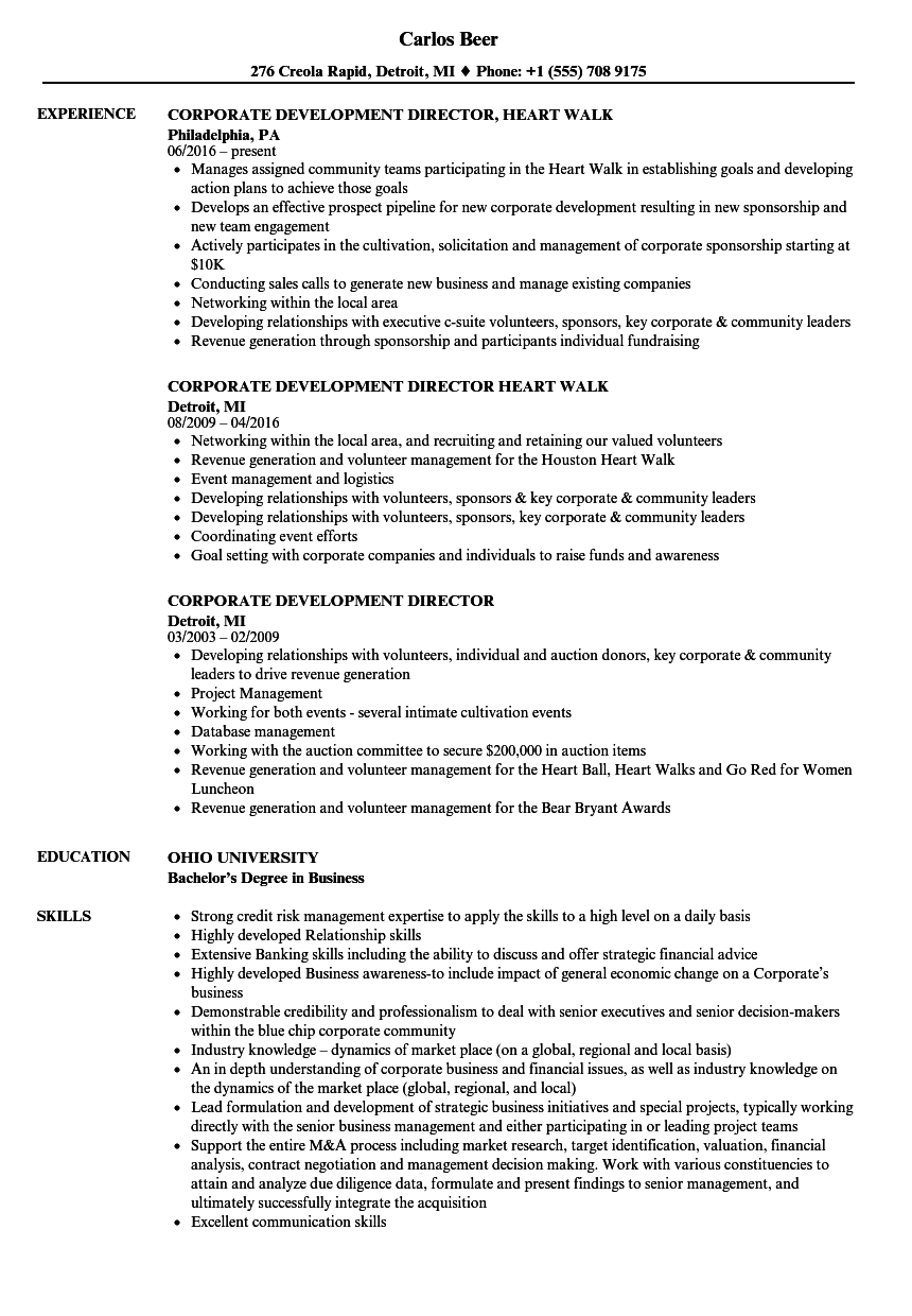 corporate development director resume samples
