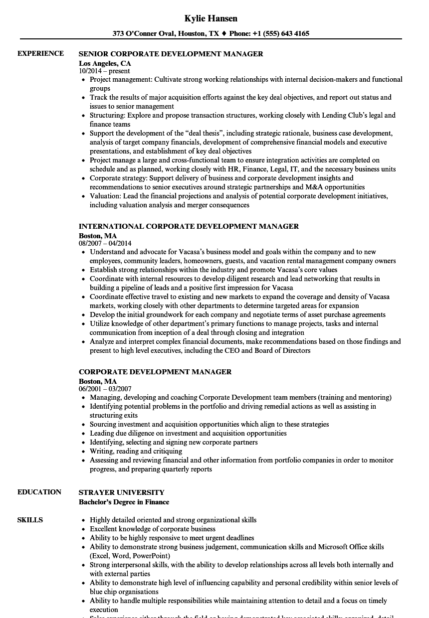 Amazing Download Corporate Development Manager Resume Sample As Image File In Corporate Development Resume