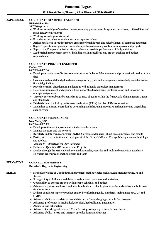 Corporate Engineer Resume Samples   Velvet Jobs