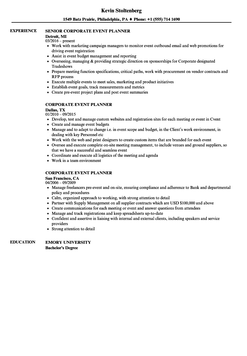 corporate event planner resume sample