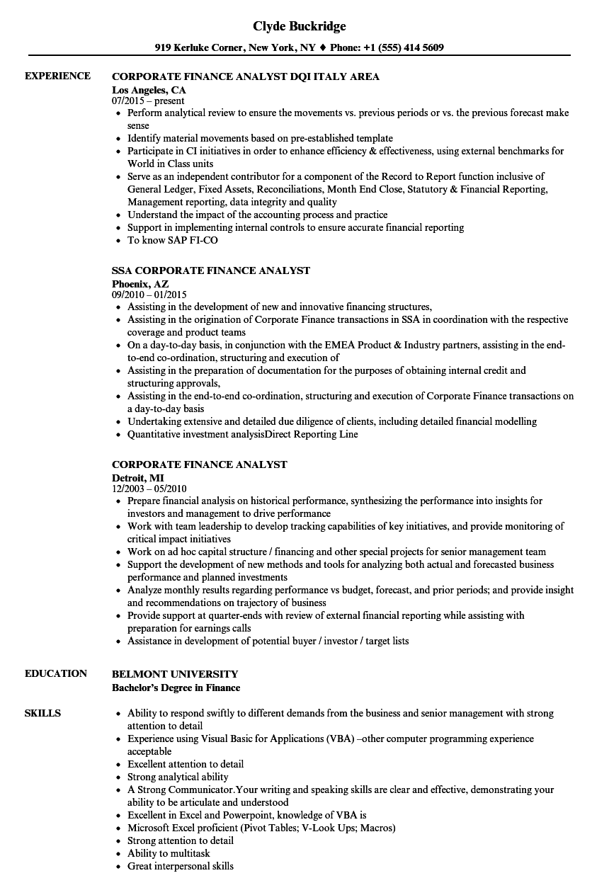 corporate finance analyst resume samples