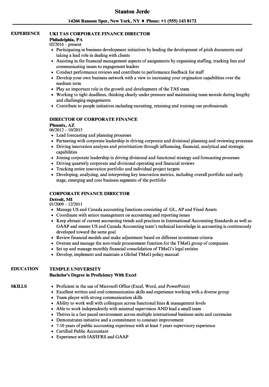 corporate finance director resume samples