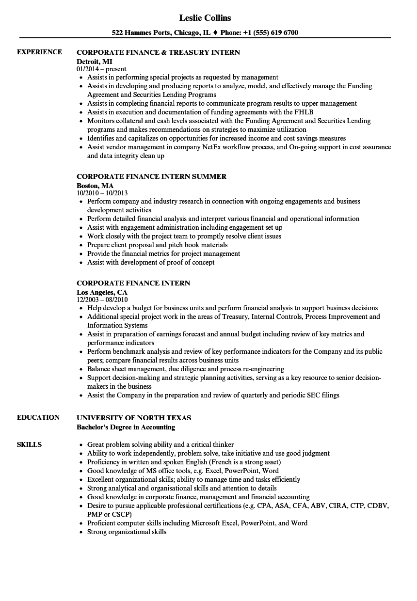 Corporate Finance Intern Resume Samples Velvet Jobs