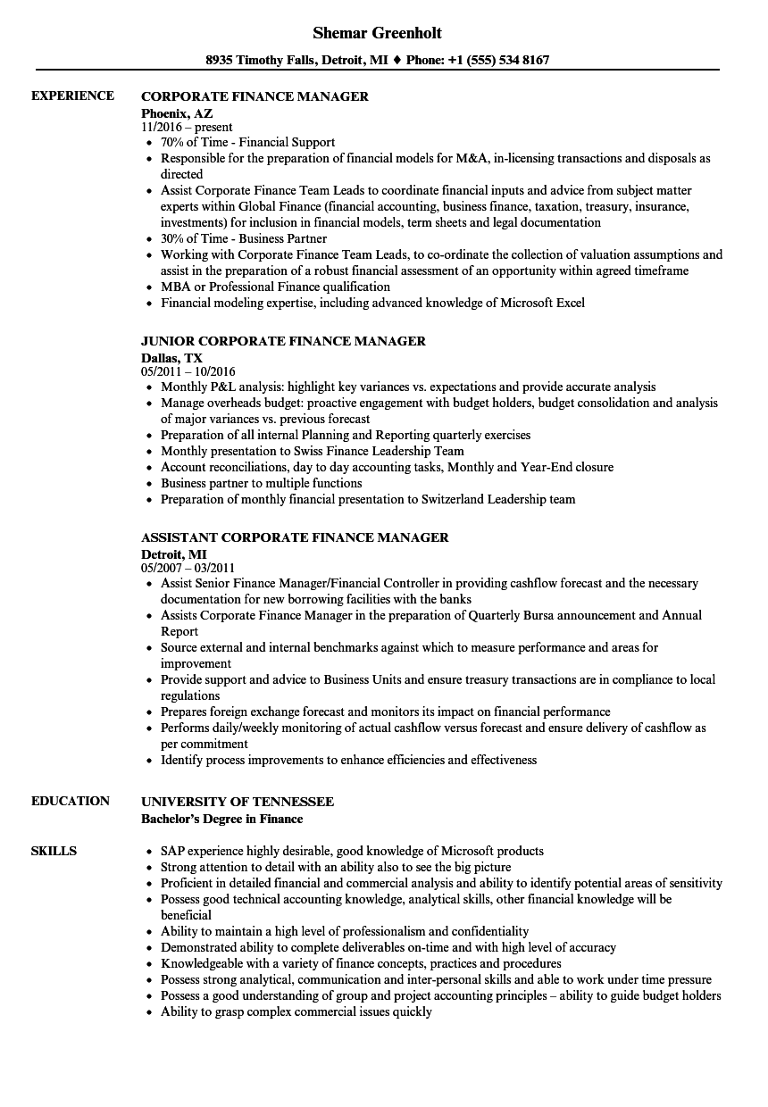 corporate finance manager resume samples