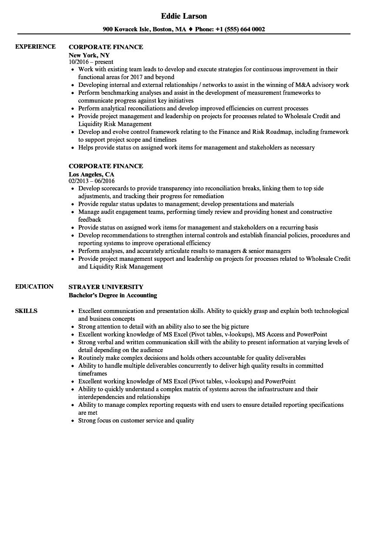 Corporate Finance Resume Samples Velvet Jobs