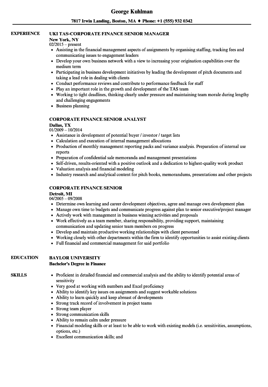 Corporate Finance Senior Resume Samples Velvet Jobs