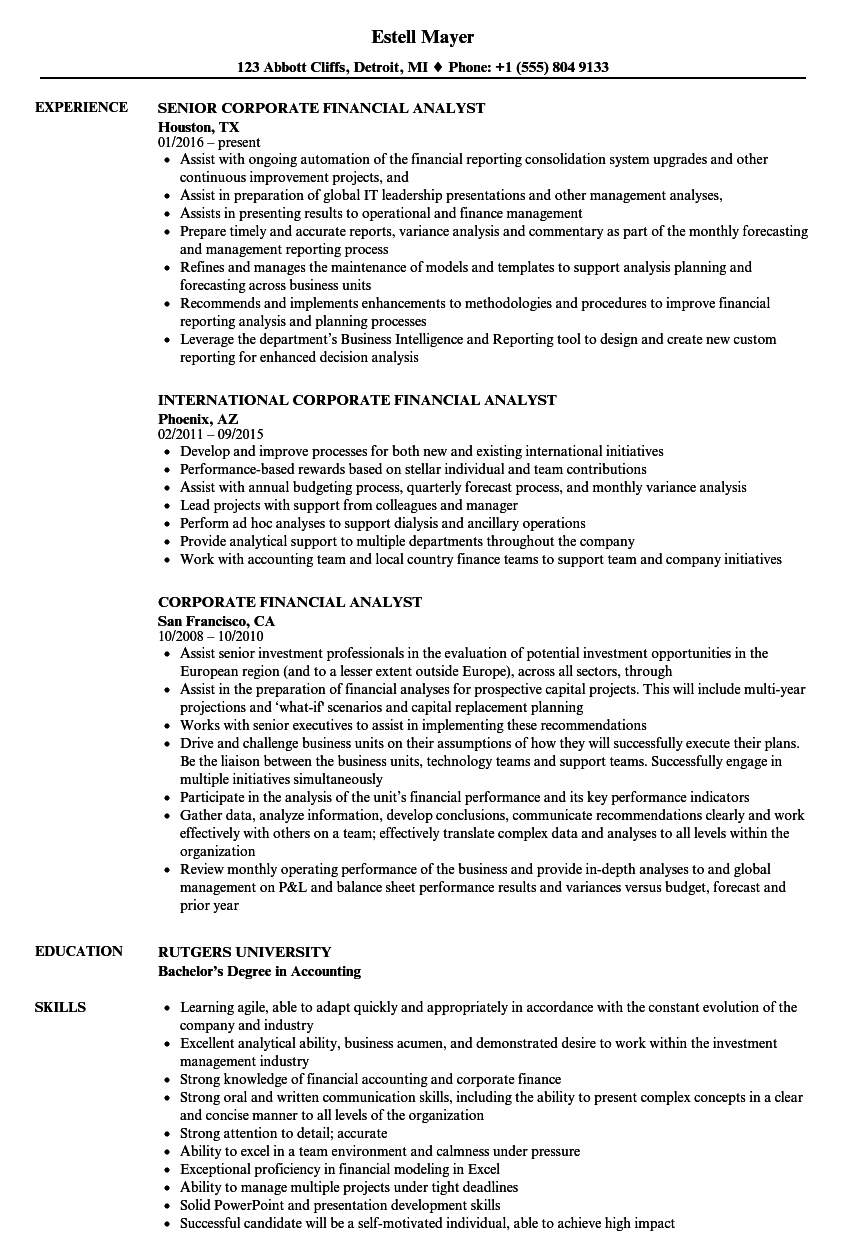 Download Corporate Financial Analyst Resume Sample As Image File