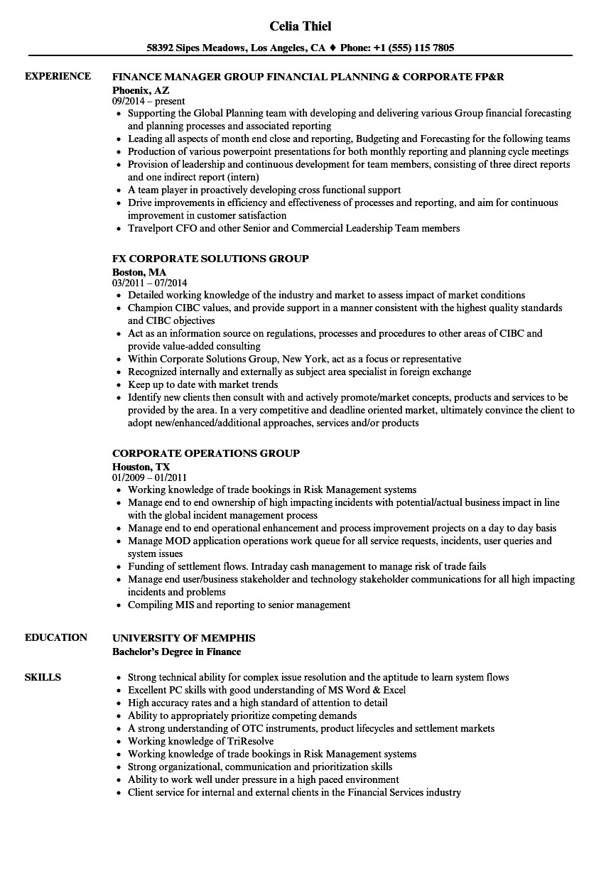 corporate group resume samples
