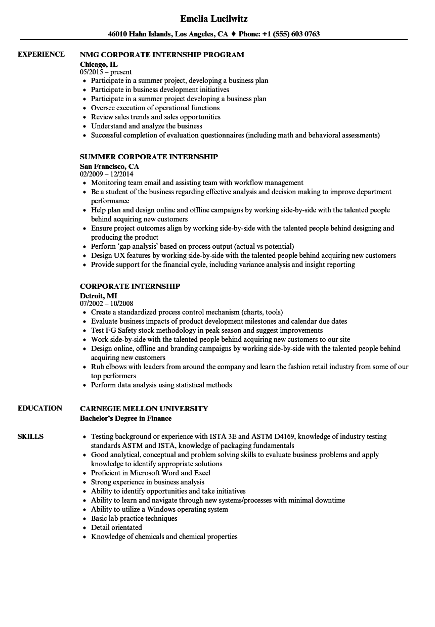 Corporate Internship Resume Samples Velvet Jobs