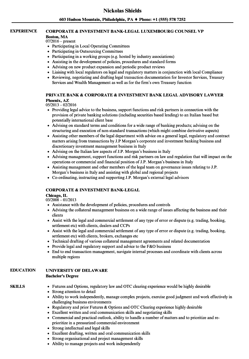 download corporate investment bank legal resume sample as image file - Sample Legal Resume