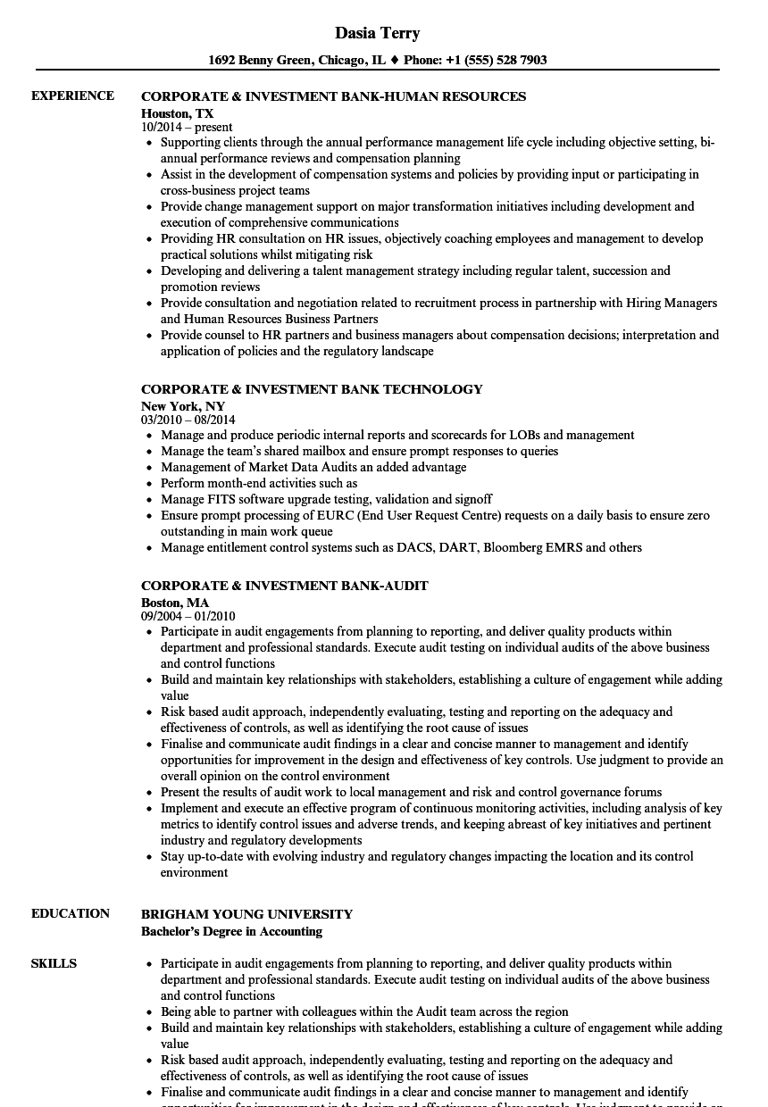 corporate  u0026 investment bank resume samples