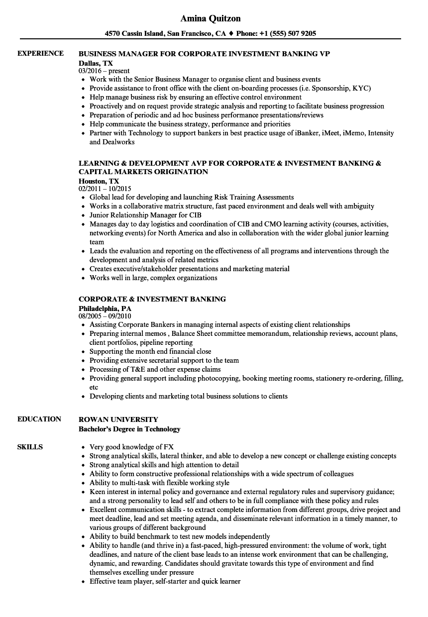 corporate  u0026 investment banking resume samples