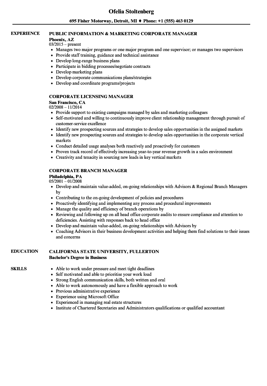 Corporate Manager Resume Samples | Velvet Jobs
