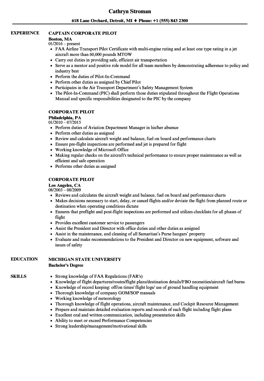 Corporate Pilot Resume Samples | Velvet Jobs