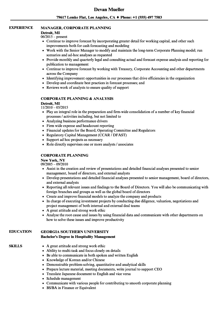 Corporate Planning Resume Samples | Velvet Jobs