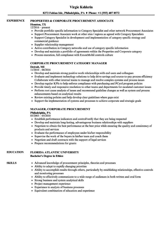 download corporate procurement resume sample as image file - Procurement Resume Sample