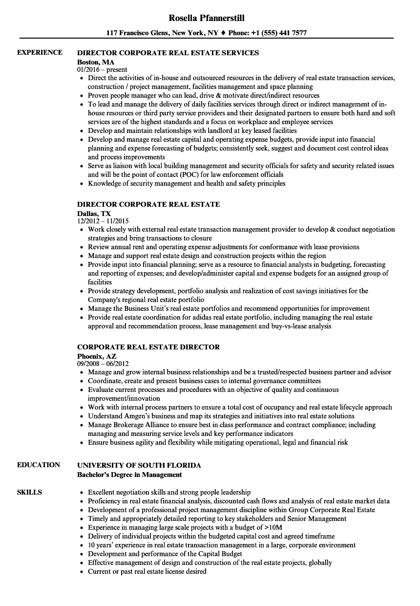 Corporate Real Estate Director Resume Samples Velvet Jobs