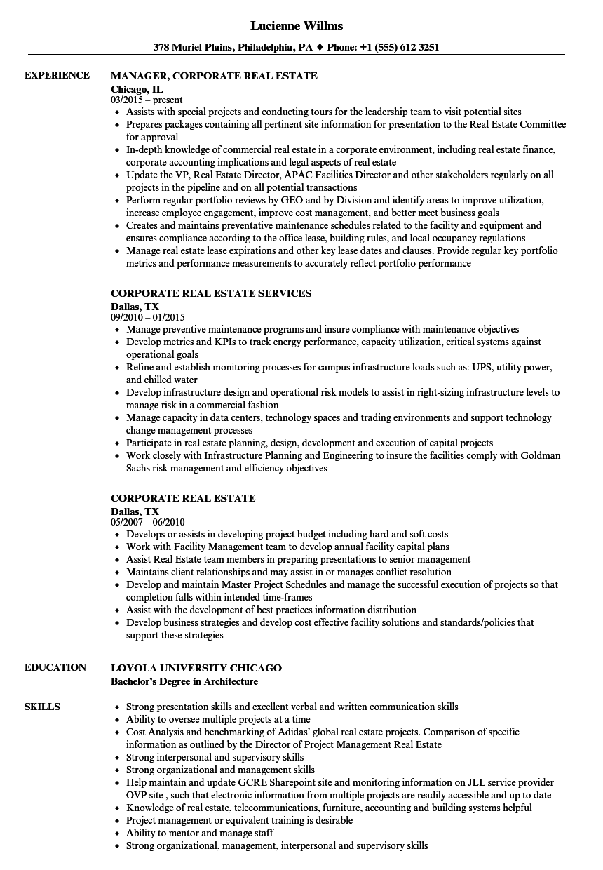 download corporate real estate resume sample as image file - Real Estate Resume Examples