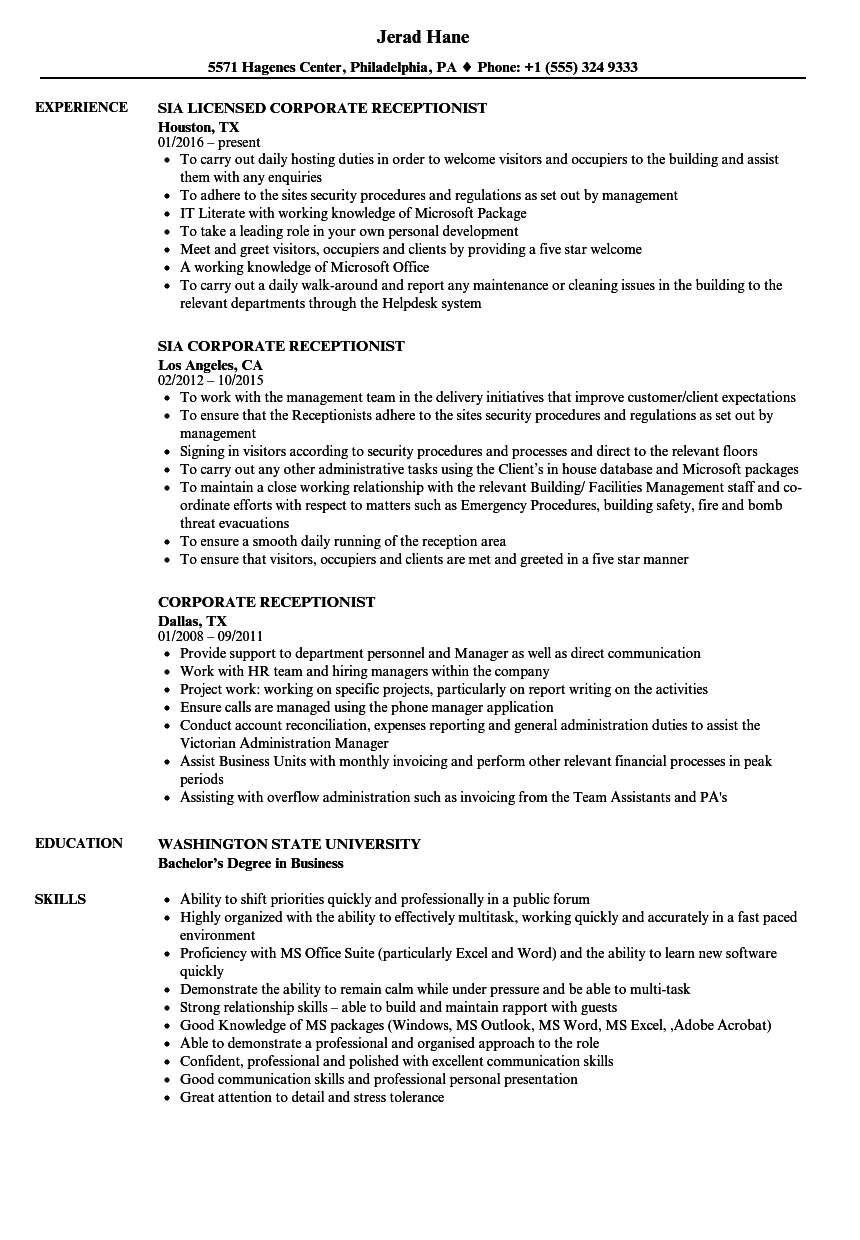 Corporate Receptionist Resume Samples | Velvet Jobs