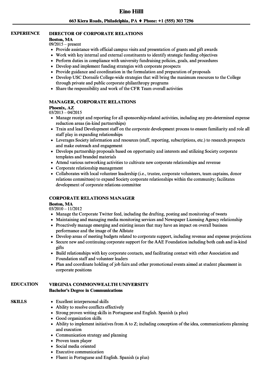 corporate relations resume samples