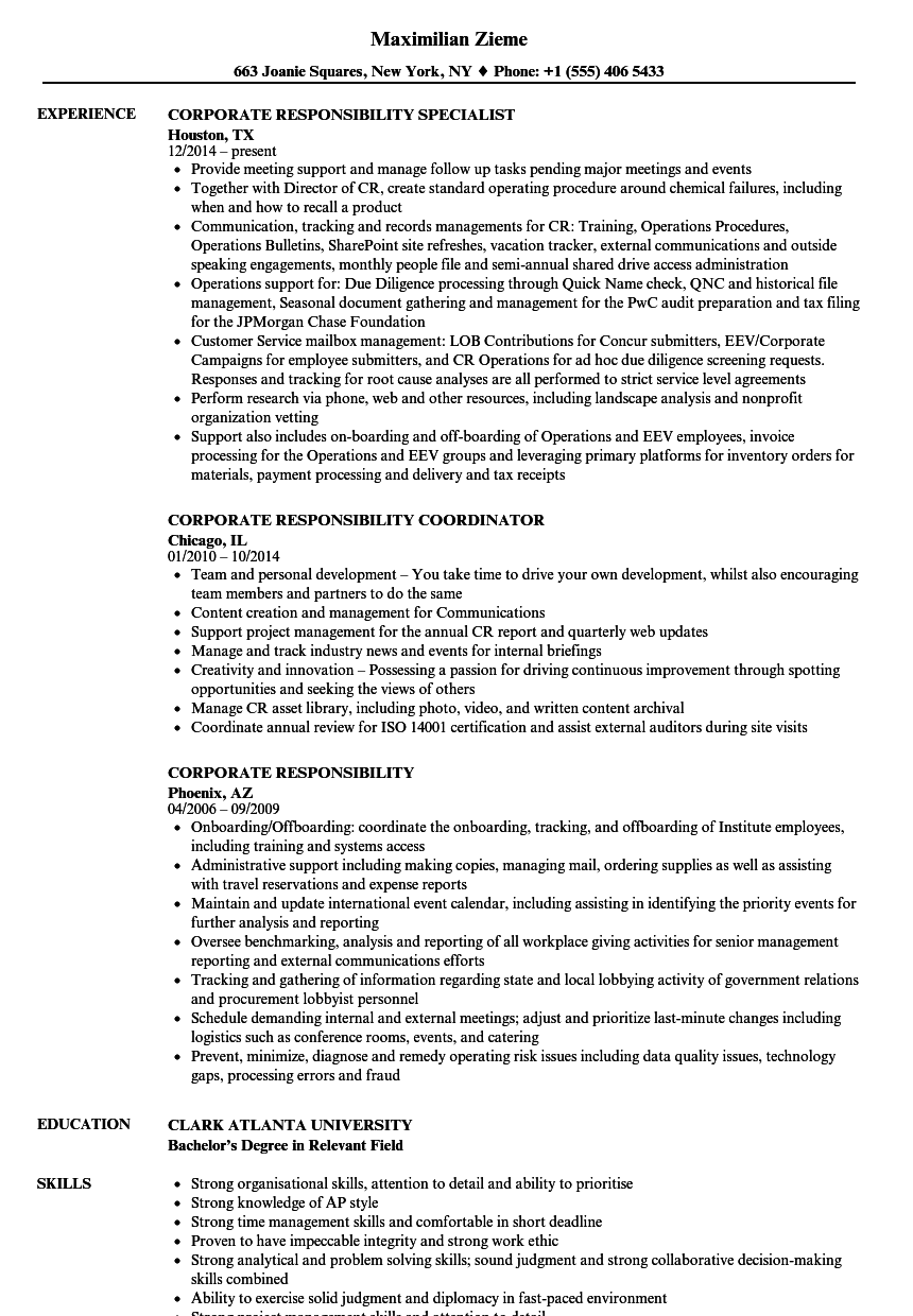 corporate responsibility resume samples