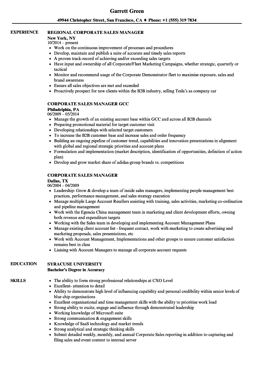 corporate sales manager resume samples