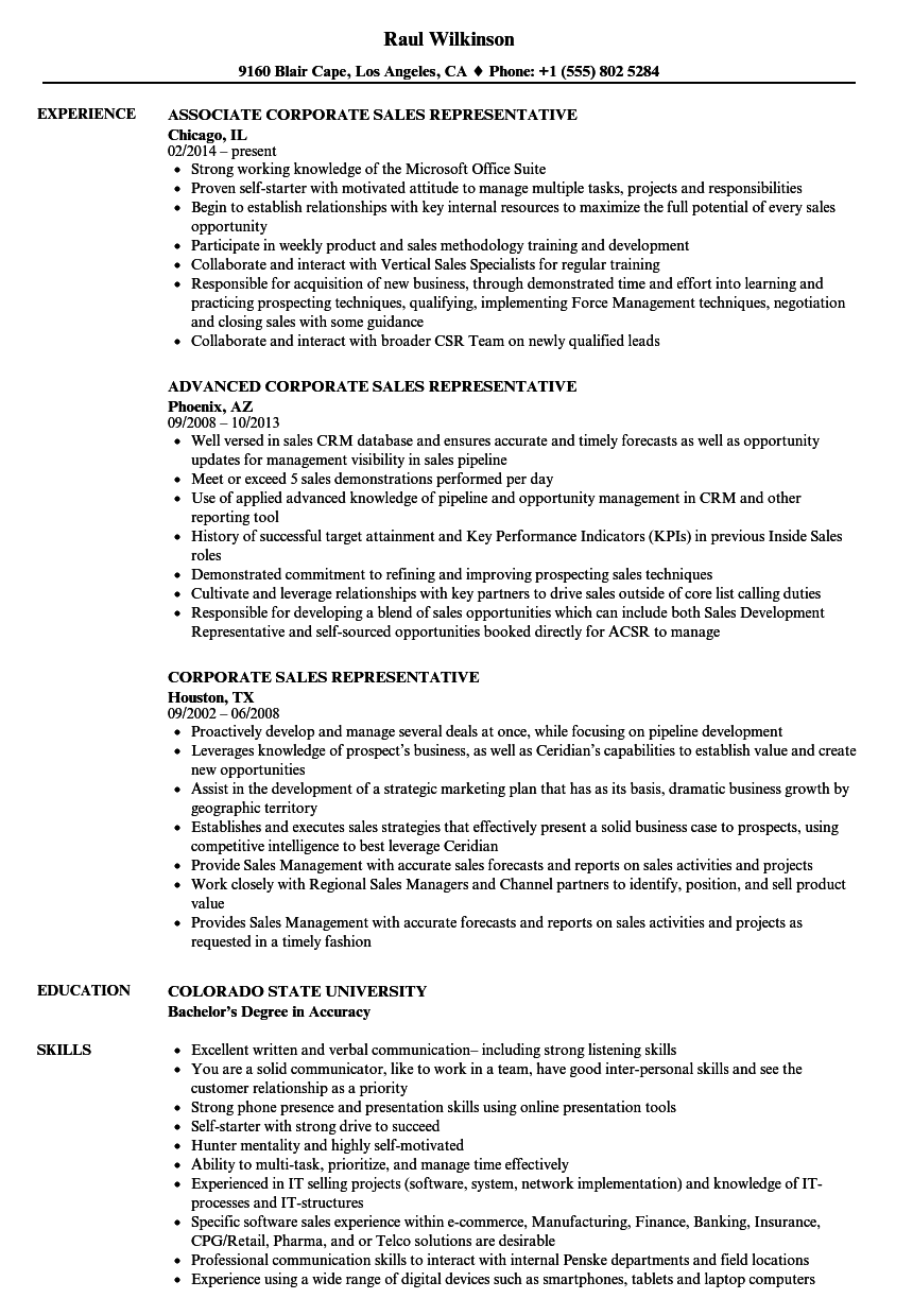 download corporate sales representative resume sample as image file - Sales Representative Resume Samples