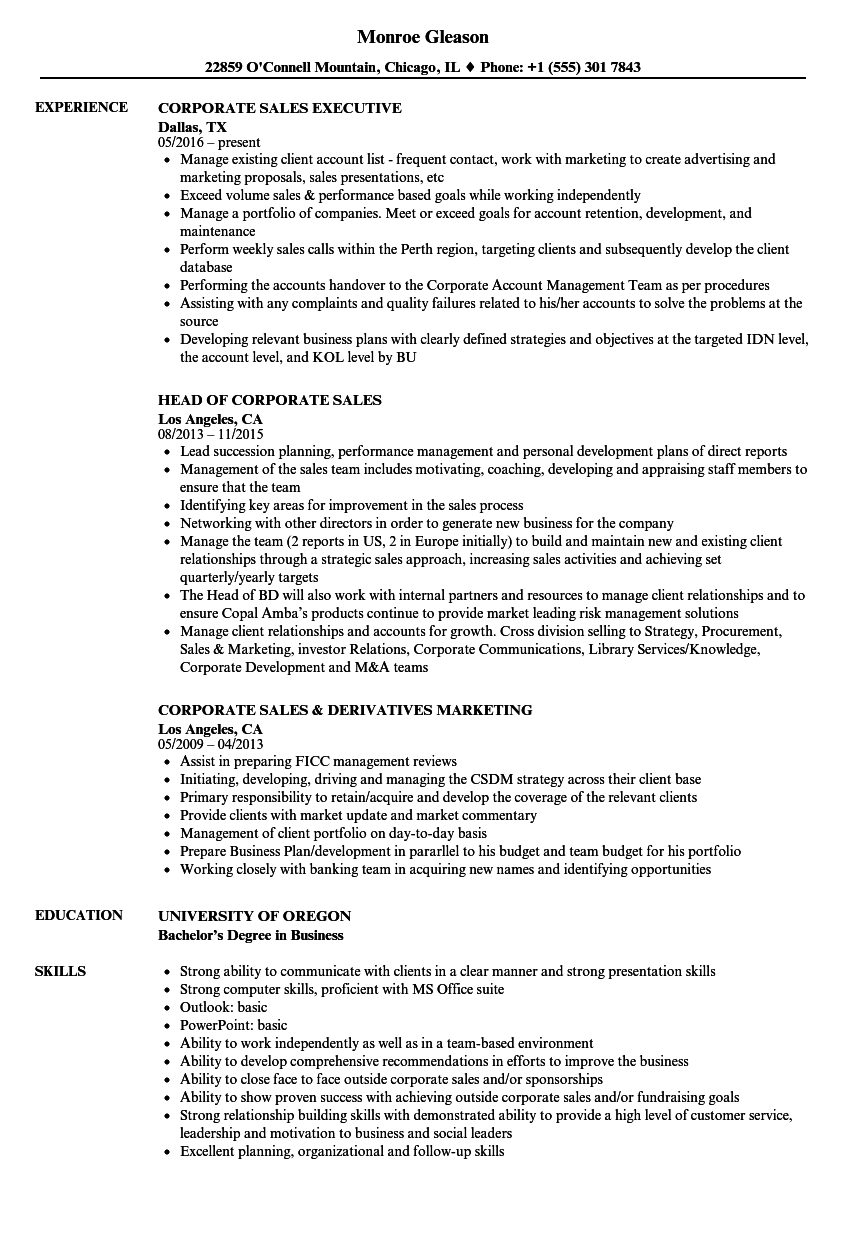 Download Corporate Sales Resume Sample As Image File