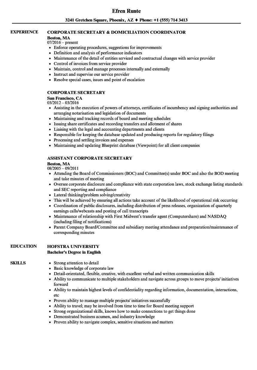 Corporate Secretary Resume Samples | Velvet Jobs