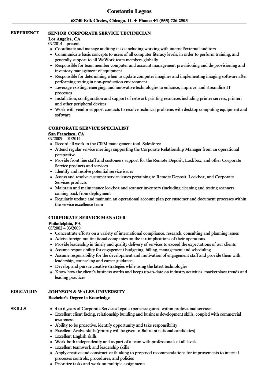corporate service resume samples