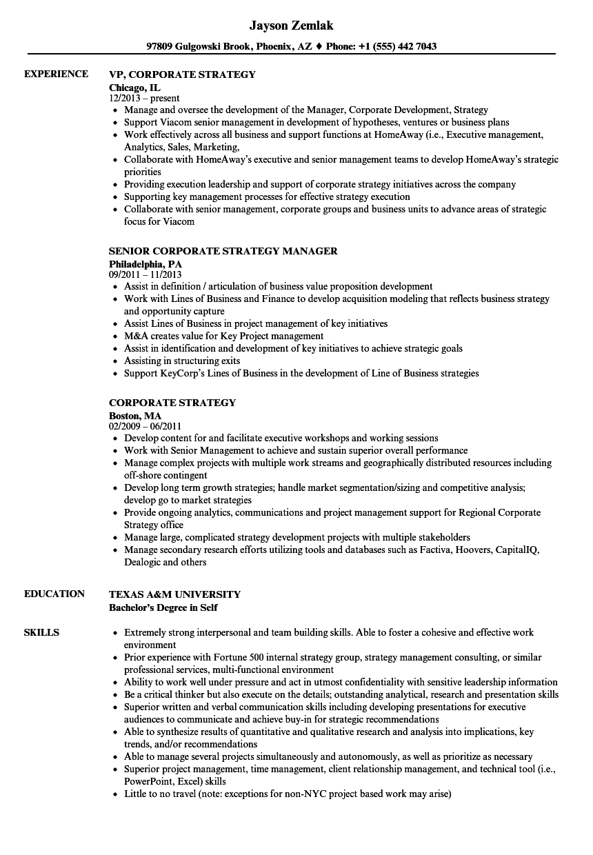 corporate strategy resume samples